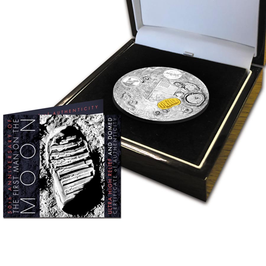 Ascension Island SPECIAL Golden Edition NASA Coin 50th ANNIVERSARY APOLLO-11 FIRST WALK ON THE MOON 1 Crown Silver coin 2019 Ultra High Relief Dome shaped Proof 2 oz