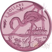 British Virgin Islands PINK FLAMINGO series TITANIUM $5 Pink Titanium coin 2015