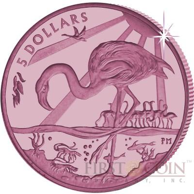 British Virgin Islands PINK FLAMINGO series TITANIUM $5 Pink Titanium coin 2015