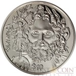 British Virgin Islands ZEUS OLYMPIC Father of the Modern Olympics 150th Birth Anniversary of Baron de Coubertin $10 Silver coin 2013 Proof