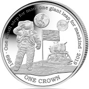 Ascension Island NASA Official Coin 50th ANNIVERSARY Apollo-11 FIRST MAN ON THE MOON 1 Crown Silver Coin Proof 2019