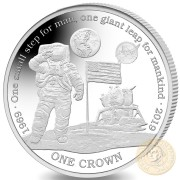 Ascension Island NASA LOGO Official Coin FIRST MAN ON THE MOON 1 Crown Silver Coin Proof 2019