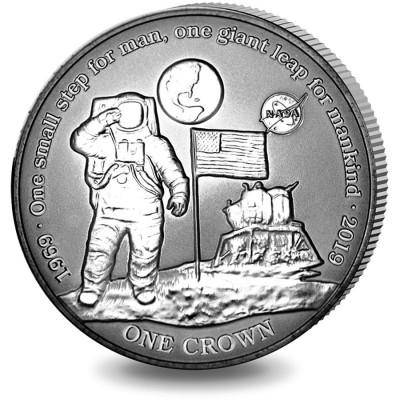 Ascension Island NASA Official Coin 50th ANNIVERSARY Apollo-11 FIRST MAN ON THE MOON 1 Crown Titanium Coin 2019