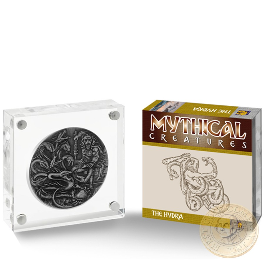 British Indian Ocean Territory HYDRA series FAMOUS MYTHICAL CREATURES £4 Silver Coin 2018 Antique finish High relief 2 oz