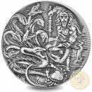 British Indian Ocean Territory THE HYDRA series FAMOUS MYTHICAL CREATURES £4 Silver Coin 2018 Antique finish High relief 2 oz