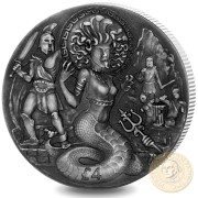 British Indian Ocean Territory MEDUSA GORGON series FAMOUS MYTHICAL CREATURES £4 Silver Coin 2018 Antique finish High relief 2 oz