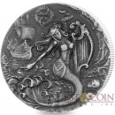 British Indian Ocean Territory THE SIREN series FAMOUS MYTHICAL CREATURES £4 Silver Coin 2018 Antique finish High relief 2 oz
