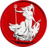 United Kingdom BRITANNIA RED SPACE series SPACE EDITION ₤2 Pound Silver Coin 2019 Galvanic plated 1 oz
