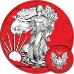 USA American Silver Eagle Walking Liberty series SPACE RED $1 Dollar Silver Coin 2019 Galvanic plated 1 oz