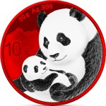 China CHINESE PANDA RED SPACE series SPACE EDITION ¥10 Yuan Silver coin 2019 Galvanic plated 30 grams
