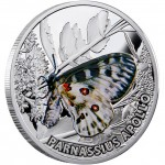 Niue Island PARNASSIUS APOLLO series BUTTERFLIES $1 Silver Coin 2010 Proof