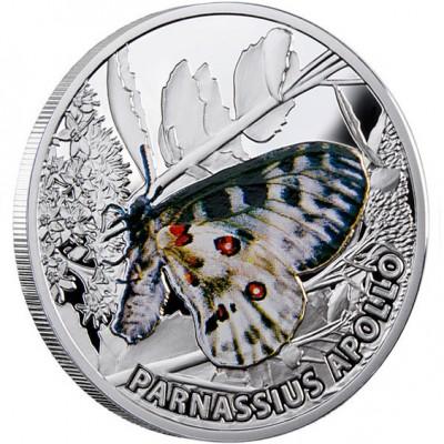 Niue Island PARNASSIUS APOLLO series BUTTERFLIES $1 Silver Coin 2010 Proof