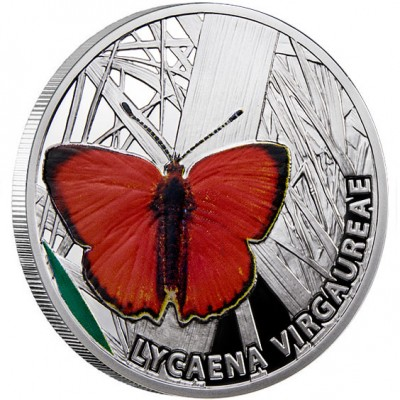 Niue Island SCARCE COPPER series BUTTERFLIES $1 Silver Coin 2010 Proof