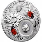 Niue Island LADYBIRD Series LUCKY COINS Silver Coin Proof $1 Silver filigree element insert 2011