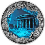 Niue Island ATLANTIS - THE SUNKEN CITY $5 Silver Coin High Relief 2019 Antique finish Blue resin Concave-Convex shaped 2 oz