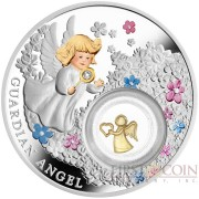 Niue Island GUARDIAN ANGEL $2 Silver Coin 2018 Gold-plated elements Proof