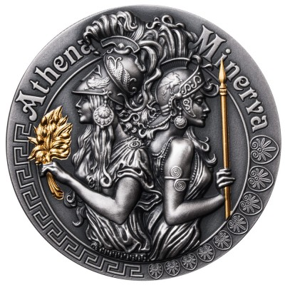 Niue Island ATHENA AND MINERVA series GODDESSES $5 Silver Coin 2019 Ultra High Relief Antique finish Gold plated 2 oz
