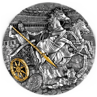 Niue Island CHARIOT $5 Silver coin Antique finish 2019 Ultra High Relief Gold plated 2 oz