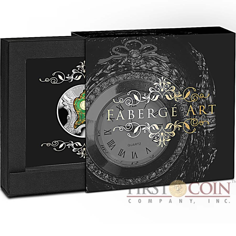 Niue Island IMPERIAL DESK CLOCK by Carl Faberge series ART OF FABERGE $1 Silver Coin 2018 Clock shaped insert Proof 1 oz