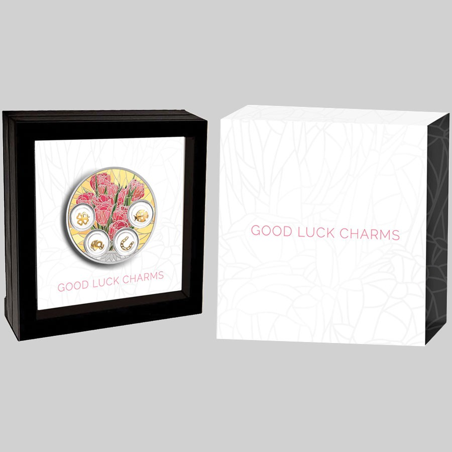 Niue Island GOOD LUCK CHARMS $5 Silver coin Gold plating 2019 Proof 2.5 oz