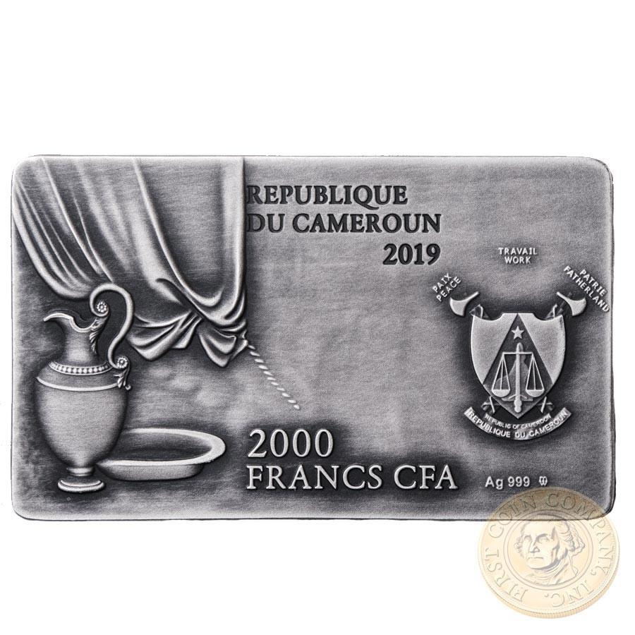 Republic of Cameroon THE LAST SUPPER by Leonardo da Vinci Silver coin 2000 Francs High relief 2019 Antique finish 2 oz