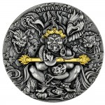 Republic of Cameroon MAHAKALA - BUDDHISM SYMBOLICS Silver Coin 2000 Francs Antique finish 2020 Ultra High Relief Gold plated 2 oz