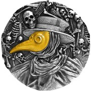 Niue Island VIRUS PANDEMIC MASK OF PLAGUE DOCTOR $5 Silver coin Antique finish 2019 Ultra High Relief Gold plated 2 oz