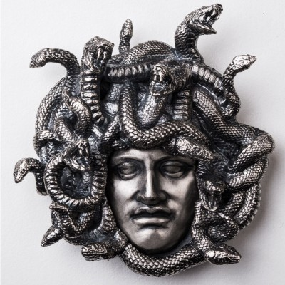 Niue Island MEDUSA GORGON $15 Silver coin Extremely High Relief 3D shaped 2019 Antique finish 8 oz