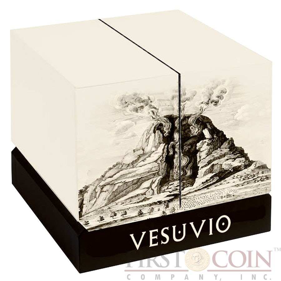 Niue Island MOUNT VOLCANO VESUVIUS POMPEII ITALY Silver coin $30 VOLCANO SHAPED Innovative minting 2016 Proof 6 oz