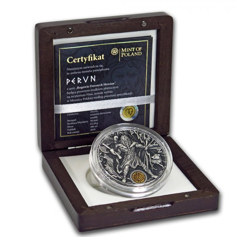 Niue Island PERUN series SLAVIC GODS Silver Coin $2 Antique finish 2018 Ultra High Relief 2 oz