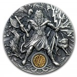 Niue Island PERUN series SLAVIC GODS Silver Coin $2 Antique finish 2018 Ultra High Relief 2 oz