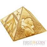 Niue Island THE GREAT PYRAMIDS Masterpiece of Mint Art $15 Silver coin Pyramid Shaped High Relief 2014 Proof Gold Plated 3 oz