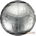 Republic of Cameroon S.O.S. THE WORLD – ENDANGERED ANIMAL SPECIES 3D Silver coin 5000 Francs 2017 High Relief Spherical shape PROOF 7 oz