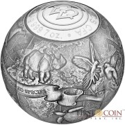 Republic of Cameroon S.O.S. THE WORLD - ENDANGERED ANIMAL SPECIES 3D Silver coin 5000 Francs 2017 High Relief Spherical shape ANTIQUE FINISH 7 oz