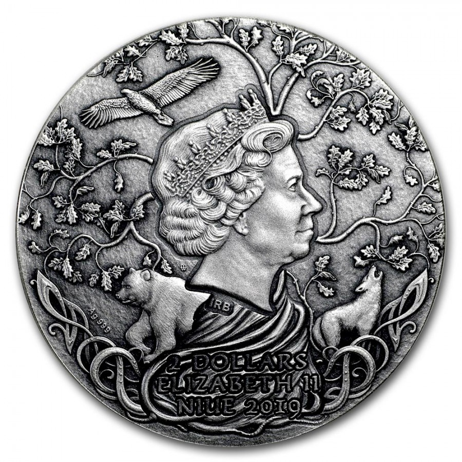 Niue Island SVETOVID series SLAVIC GODS Silver Coin $2 Antique finish 2019 Ultra High Relief 2 oz