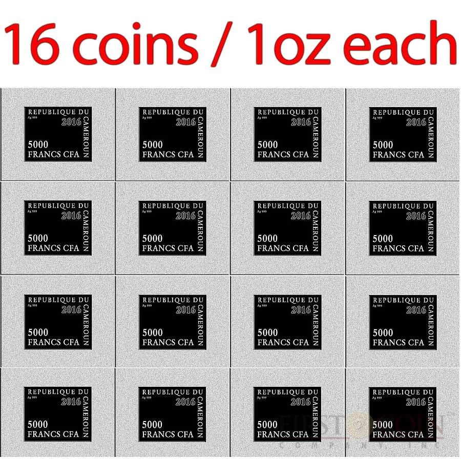 Republic of Cameroon TIGER HUNT by PETER PAUL RUBENS 16 Silver Coin Puzzle Set CFA 80,000 Francs 2016 Proof Half Kilo / 16 oz