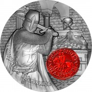 Republic of Cameroon TEMPLAR TREASURE HOLY GRAIL KNIGHT 2000 Francs Silver Coin 2020 Antique finish High Relief 2 oz