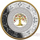 Niue Island TREE OF LUCK $25 Silver Coin 2018 Porcelain insert Gold plated Proof 8 oz