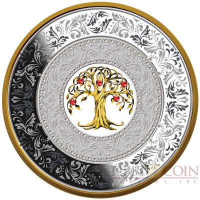 Niue Island TREE OF LUCK CHINESE LEGEND $25 Silver Coin 2018 Porcelain insert Gold plated Proof 8 oz