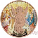 Ukraine FRESCO ARCHANGEL MICHAEL series THEMATIC DESIGN 1 Hryvnia 2015 Silver Coin Rose Gold plated 1 oz