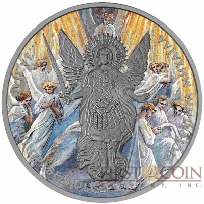 Ukraine PARADISE ARCHANGEL MICHAEL series CHRISTIANITY THEMATIC DESIGN ₴1 Hryvnia 2015 Silver Coin Antique finish 1 oz