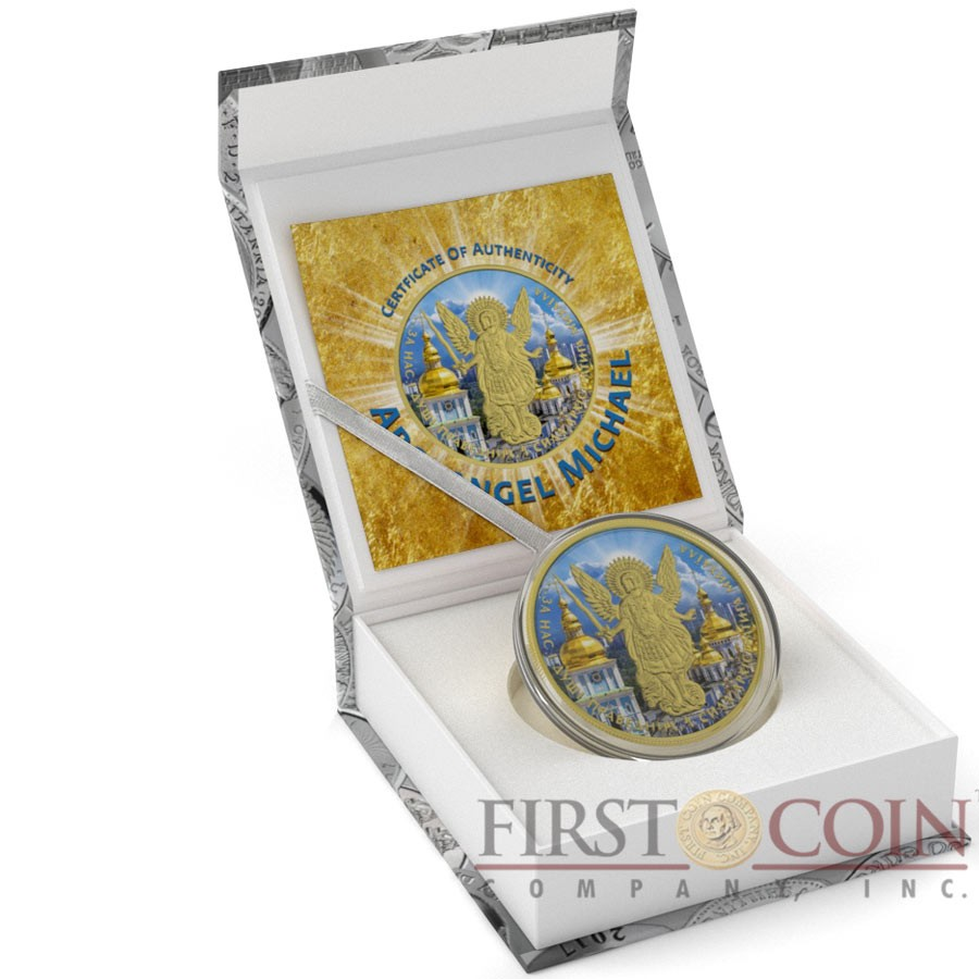 Ukraine ST. MICHAEL'S MONASTERY ARCHANGEL MICHAEL series CHRISTIANITY THEMATIC DESIGN ₴1 Hryvnia 2015 Silver Coin 24K Yellow Gold plated 1 oz