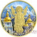 Ukraine ST. MICHAEL'S GOLDEN-DOMED MONASTERY ARCHANGEL MICHAEL series THEMATIC DESIGN 1 Hryvnia 2015 Silver Coin Yellow Gold plated 1 oz