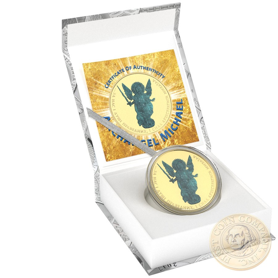 Ukraine SAINT WANDERING THE DAY ARCHANGEL MICHAEL series CHRISTIANITY THEMATIC DESIGN ₴1 Hryvnia 2015 Silver Coin 24K Yellow Gold plated 1 oz