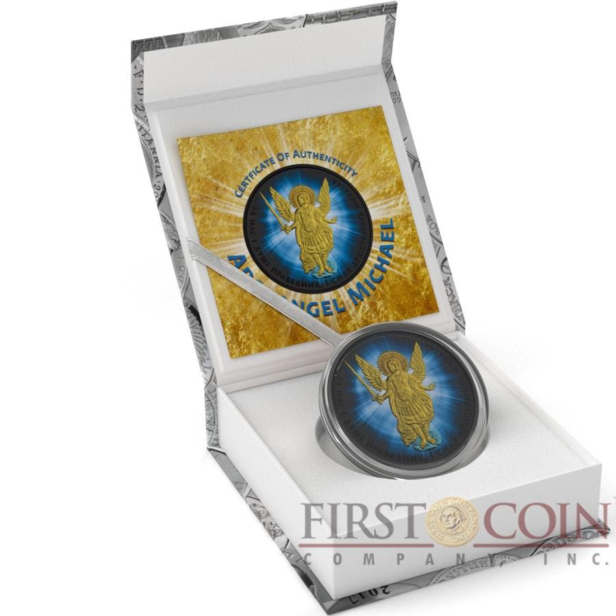 Ukraine SHINING OF SAINT ARCHANGEL MICHAEL series CHRISTIANITY THEMATIC DESIGN ₴1 Hryvnia 2015 Silver Coin Black Ruthenium plated 1 oz