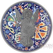 Ukraine UKRAINIAN ORNAMENT ARCHANGEL MICHAEL series THEMATIC DESIGN 1 Hryvnia 2015 Silver Coin Antique finish 1 oz