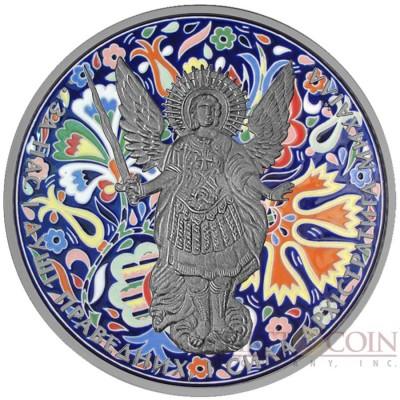 Ukraine UKRAINIAN ORNAMENT ARCHANGEL MICHAEL series CHRISTIANITY THEMATIC DESIGN ₴1 Hryvnia 2015 Silver Coin Antique finish 1 oz
