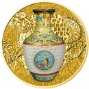 Niue Island IMPERIAL VASE OF CHINA QIANLONG - CHINESE PORCELAIN TECHNOLOGY THAT CHANGED THE WORLD $100 Gold Coin 2016 Porcelain insert Proof 1.5 oz