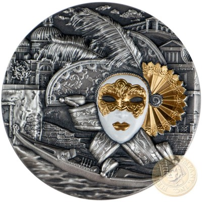 Niue Island VENETIAN MASK $5 Silver coin 2019 Gold plated High relief Antique finish 2 oz