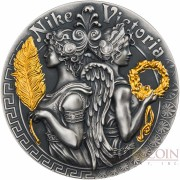 Niue Island VICTORIA AND NIKE series GODDESSES $5 Silver Coin 2018 Ultra High Relief Antique finish Gold plated 2 oz